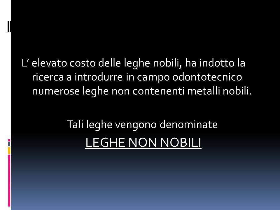 L' elevato costo delle leghe nobili, ha indotto la ricerca a introdurre in campo odontotecnico numerose leghe non contenenti metalli nobili.