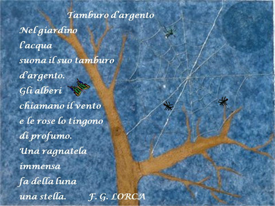Tamburo d'argentoNel giardino. l'acqua. suona il suo tamburo. d'argento. Gli alberi. chiamano il vento.