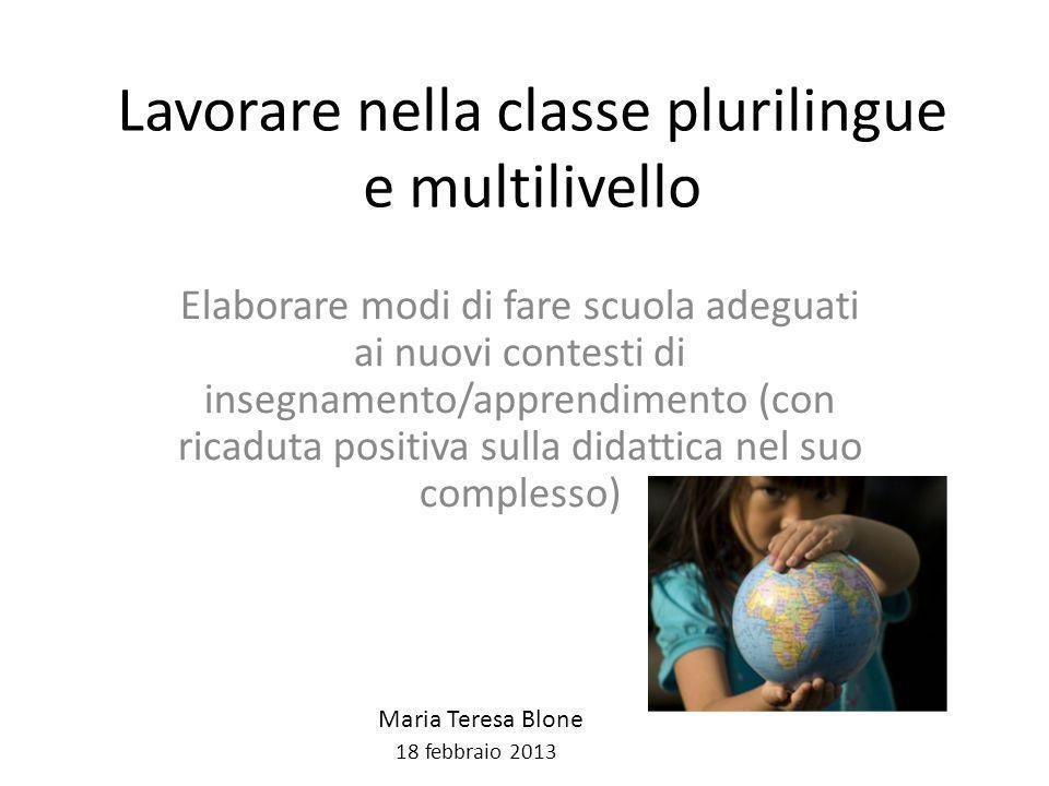 Lavorare nella classe plurilingue e multilivello