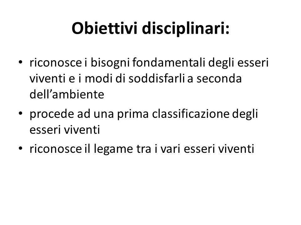 Obiettivi disciplinari: