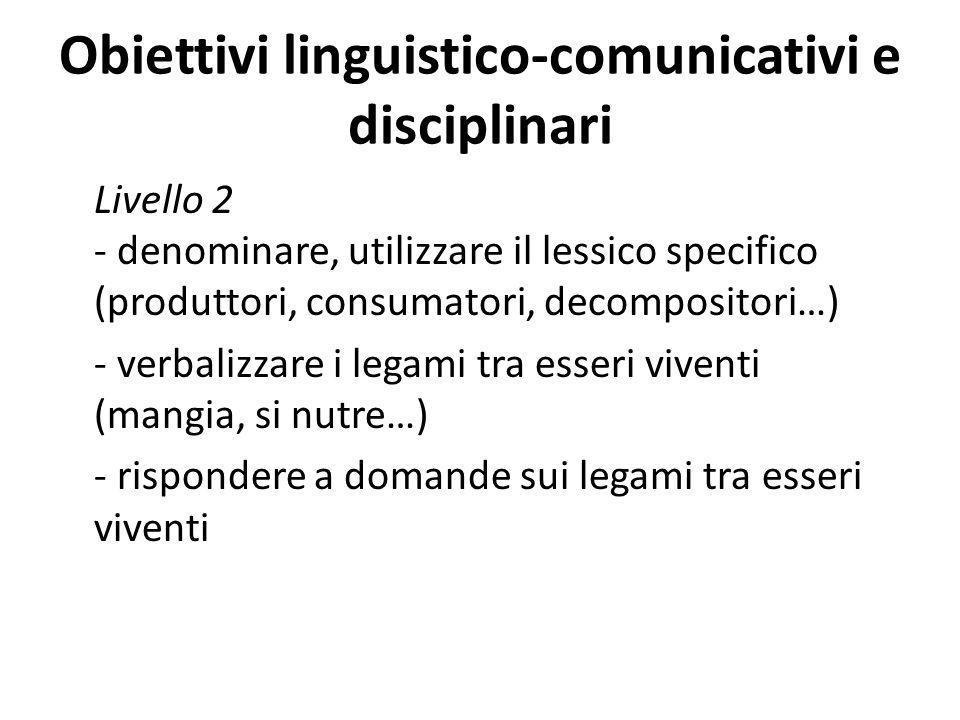 Obiettivi linguistico-comunicativi e disciplinari