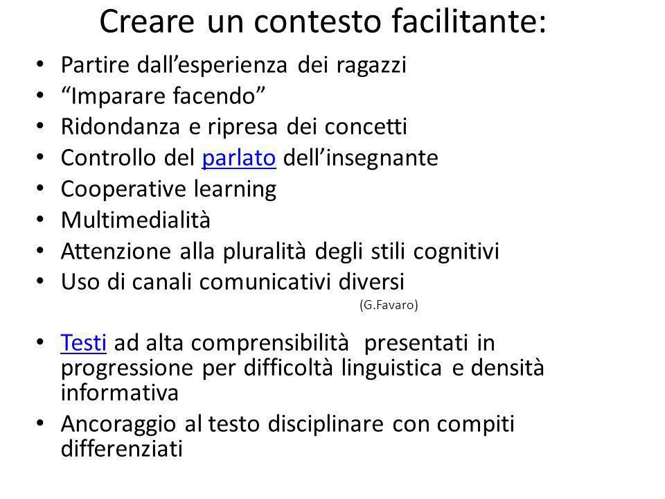 Creare un contesto facilitante: