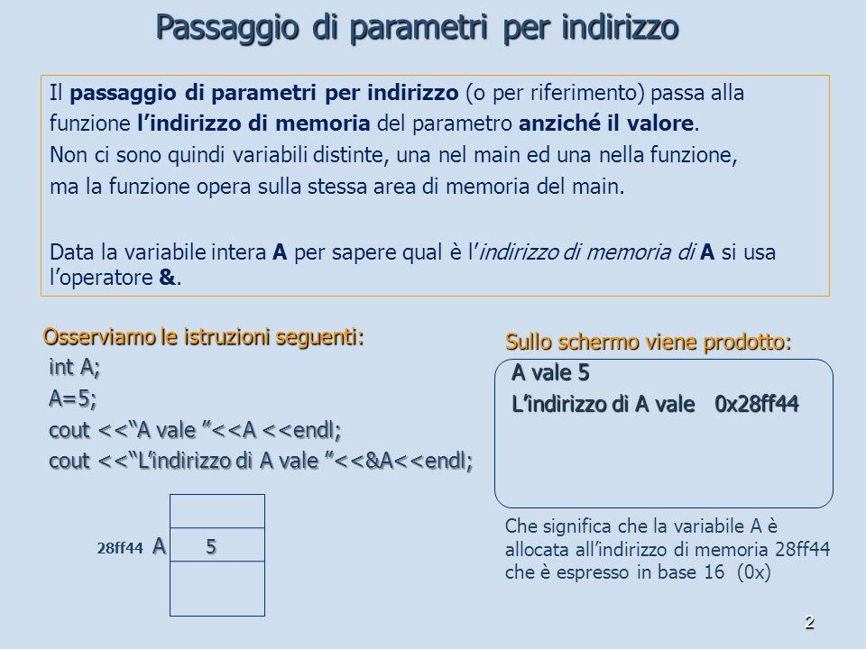 Passaggio di parametri per indirizzo
