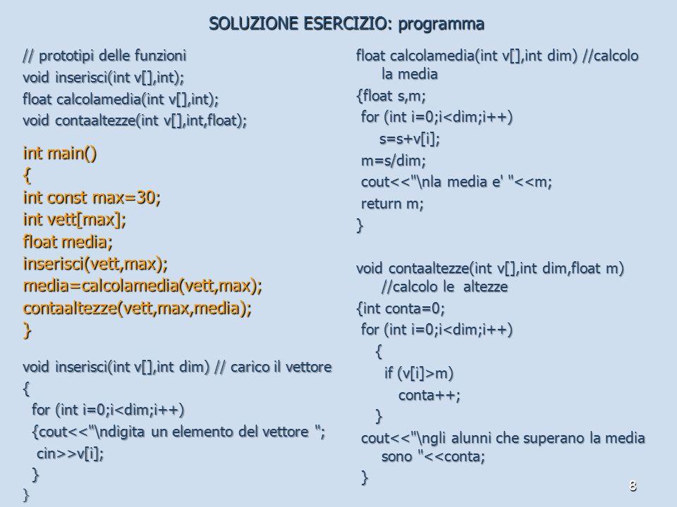 SOLUZIONE ESERCIZIO: programma
