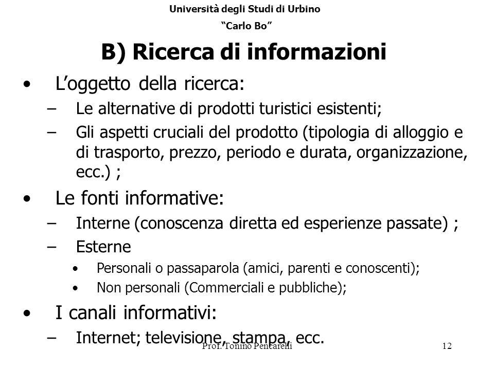 Università degli Studi di Urbino B) Ricerca di informazioni