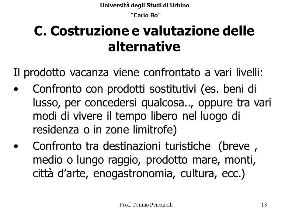 C. Costruzione e valutazione delle alternative