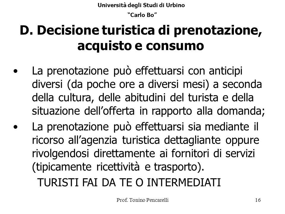 D. Decisione turistica di prenotazione, acquisto e consumo