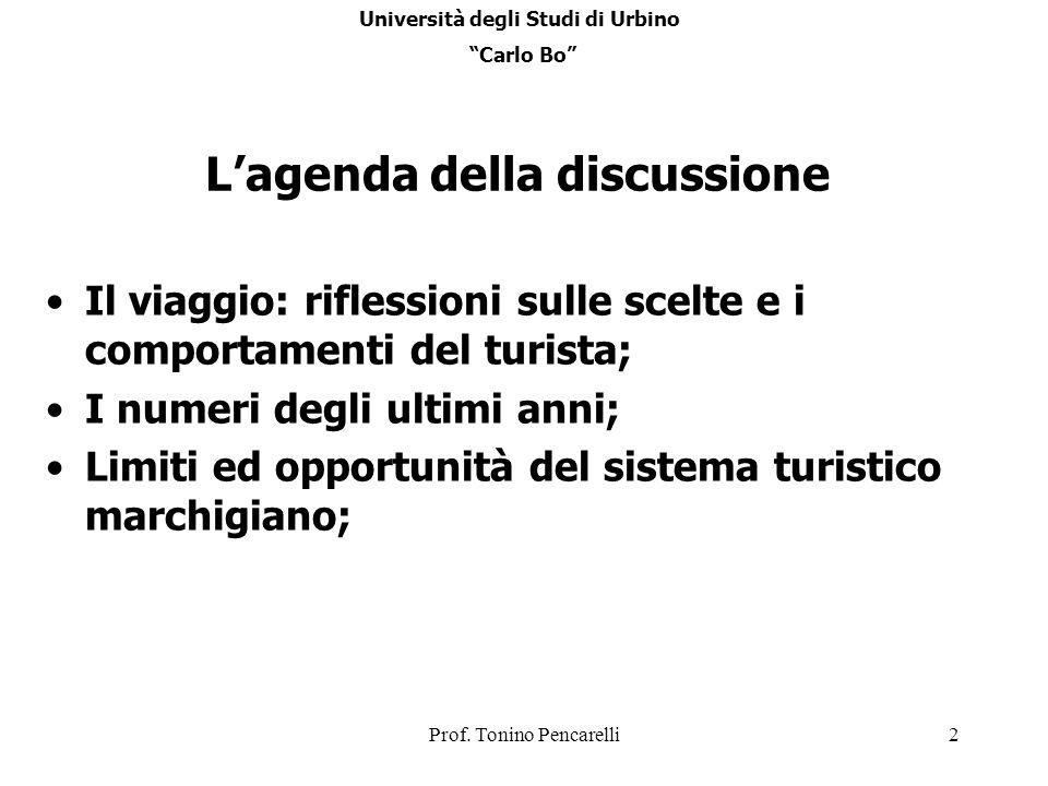 Università degli Studi di Urbino L'agenda della discussione
