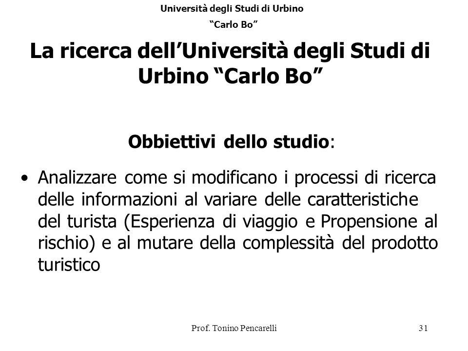 La ricerca dell'Università degli Studi di Urbino Carlo Bo