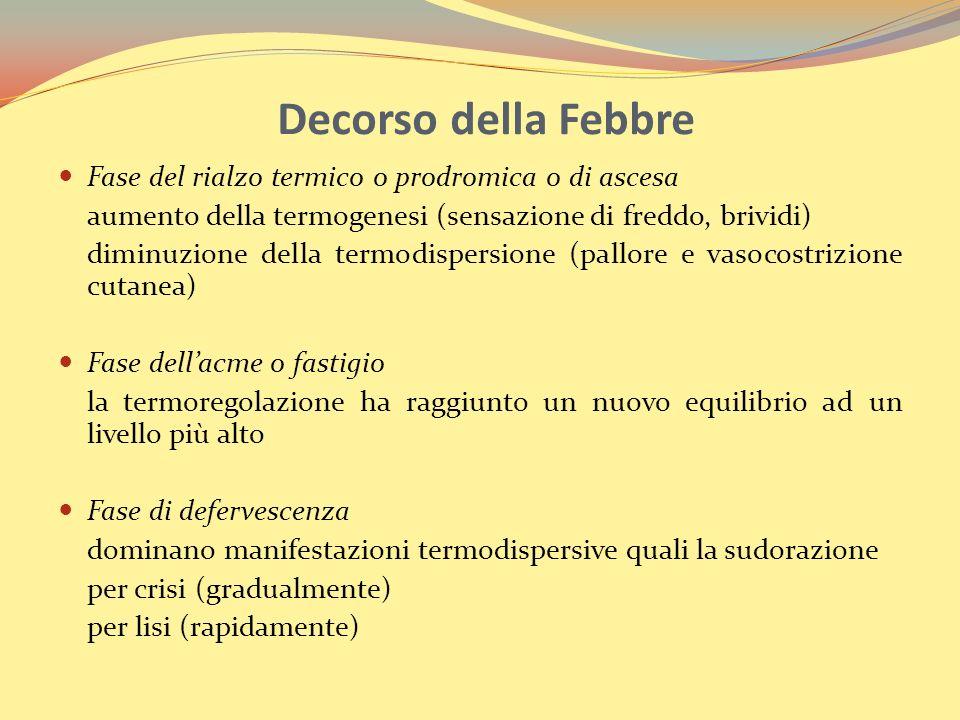 Decorso della Febbre Fase del rialzo termico o prodromica o di ascesa