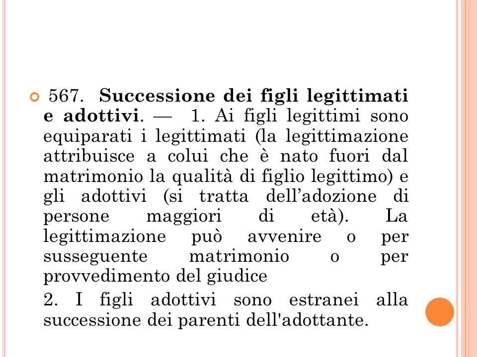 567. Successione dei figli legittimati e adottivi. — 1