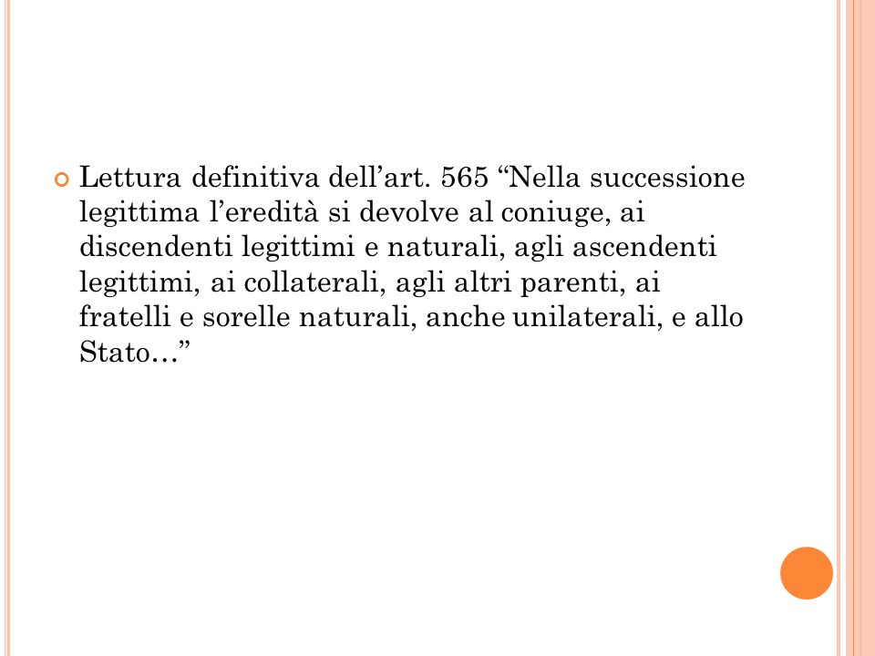 Lettura definitiva dell'art