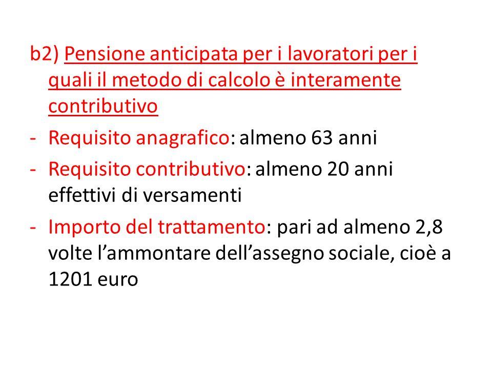 b2) Pensione anticipata per i lavoratori per i quali il metodo di calcolo è interamente contributivo