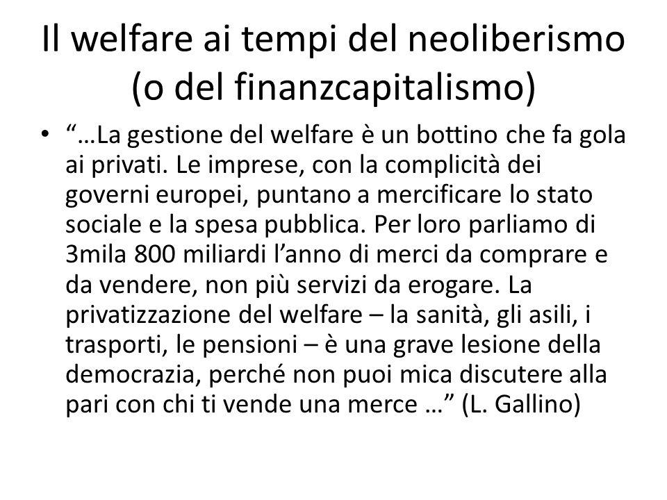 Il welfare ai tempi del neoliberismo (o del finanzcapitalismo)