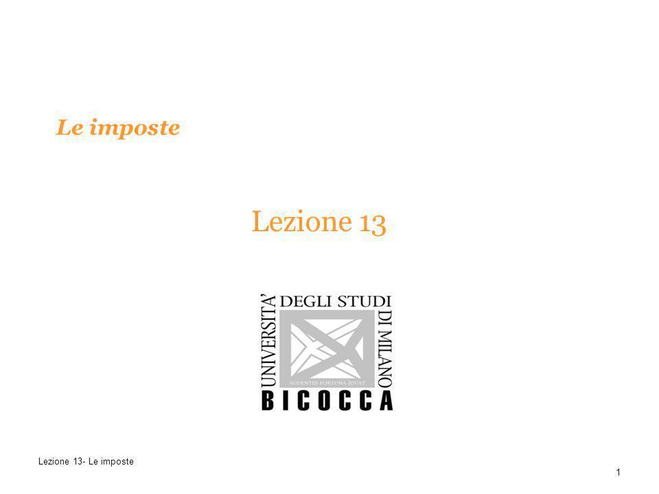 Le imposte Lezione 13 Lezione 13- Le imposte