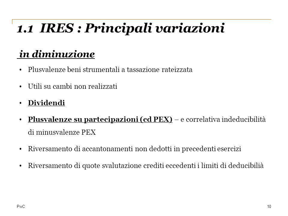 1.1 IRES : Principali variazioni in diminuzione