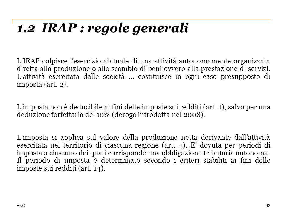 1.2 IRAP : regole generali