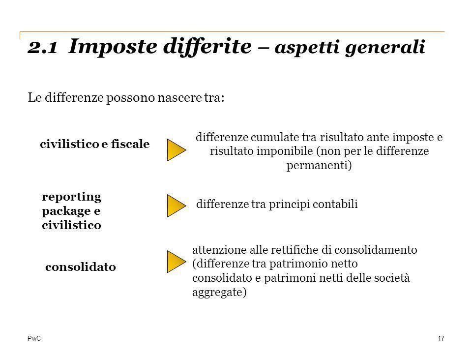 2.1 Imposte differite – aspetti generali