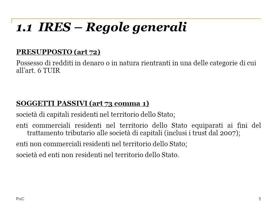 1.1 IRES – Regole generali PRESUPPOSTO (art 72)