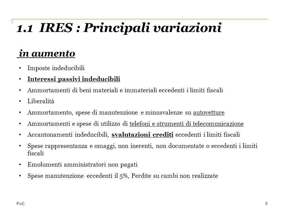 1.1 IRES : Principali variazioni in aumento