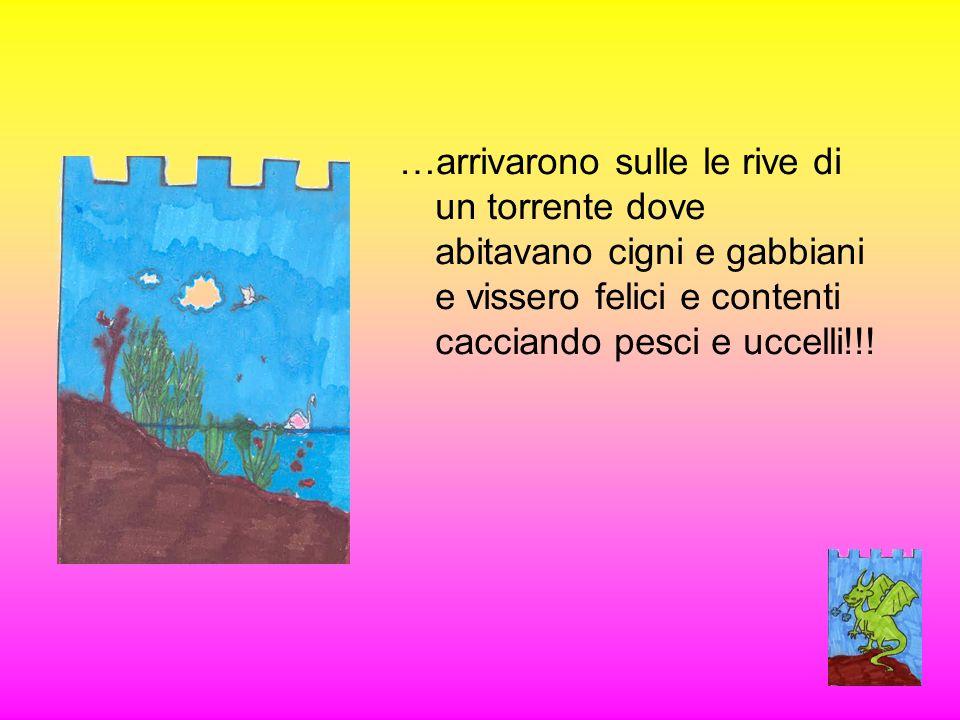 …arrivarono sulle le rive di un torrente dove abitavano cigni e gabbiani e vissero felici e contenti cacciando pesci e uccelli!!!