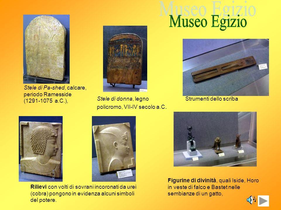 Museo Egizio Stele di Pa-shed, calcare, periodo Ramesside (1291-1075 a.C.), Stele di donna, legno policromo, VII-IV secolo a.C.