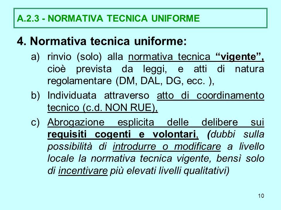 A.2.3 - NORMATIVA TECNICA UNIFORME