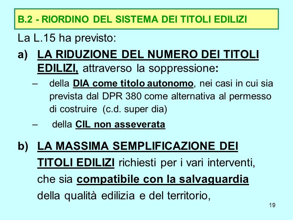 B.2 - RIORDINO DEL SISTEMA DEI TITOLI EDILIZI