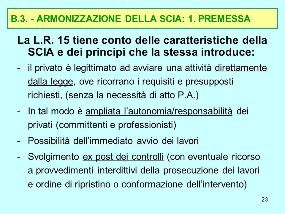 B.3. - ARMONIZZAZIONE DELLA SCIA: 1. PREMESSA