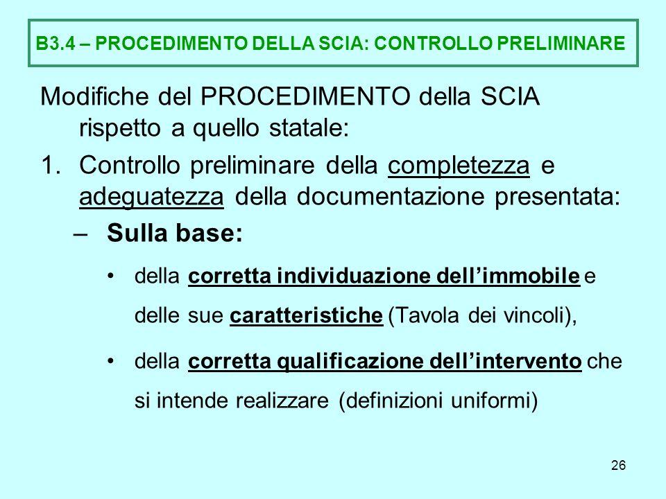 B3.4 – PROCEDIMENTO DELLA SCIA: CONTROLLO PRELIMINARE