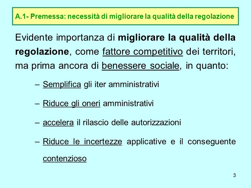 A.1- Premessa: necessità di migliorare la qualità della regolazione