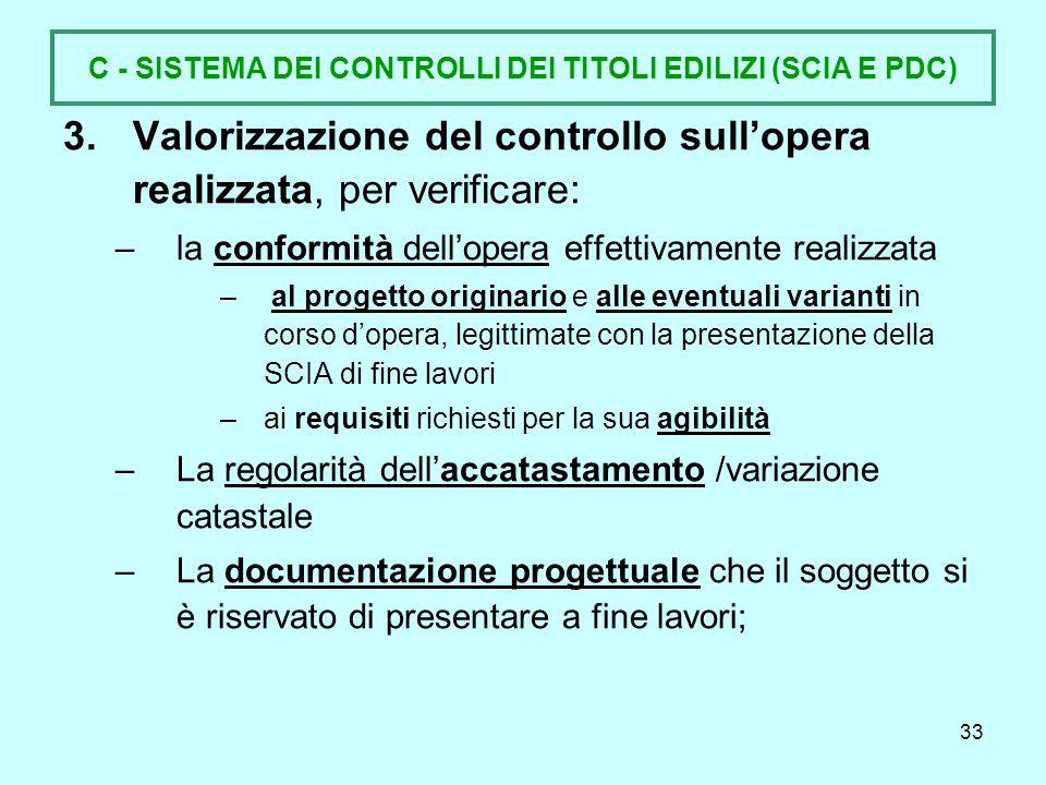 C - SISTEMA DEI CONTROLLI DEI TITOLI EDILIZI (SCIA E PDC)