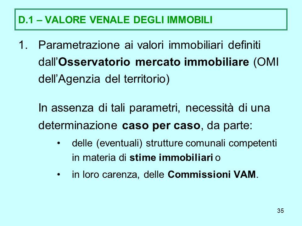 D.1 – VALORE VENALE DEGLI IMMOBILI