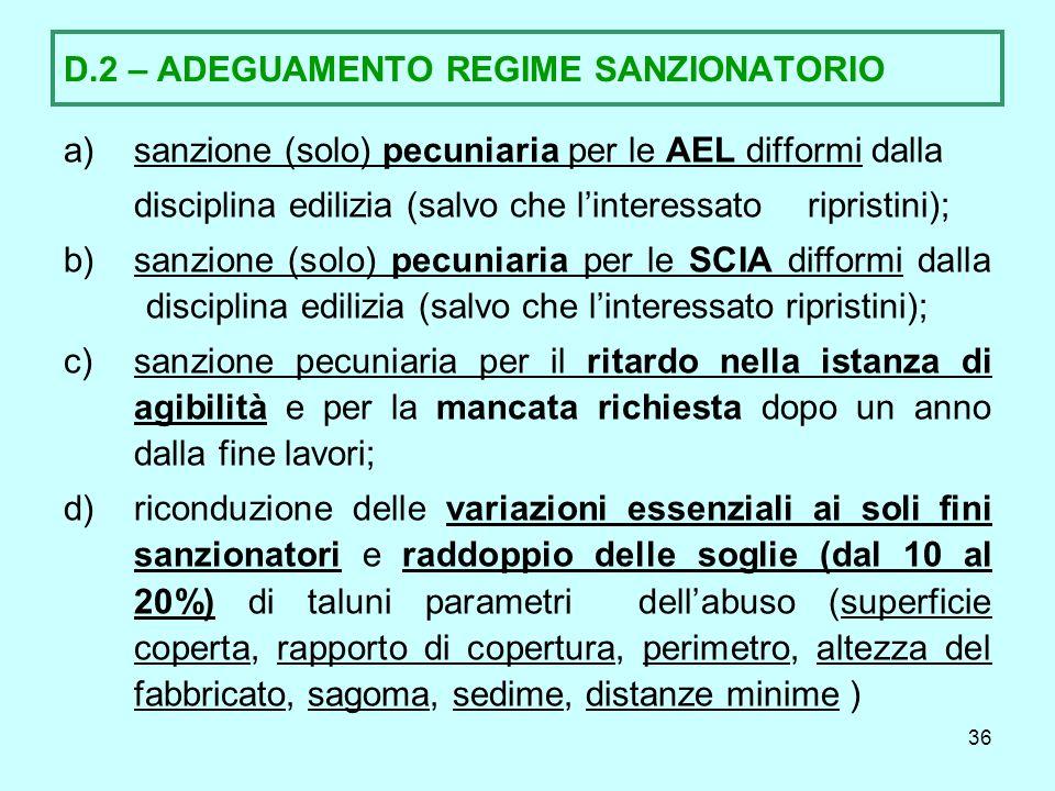 D.2 – ADEGUAMENTO REGIME SANZIONATORIO