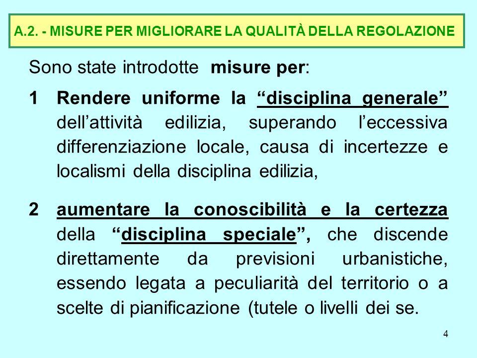 A.2. - MISURE PER MIGLIORARE LA QUALITÀ DELLA REGOLAZIONE