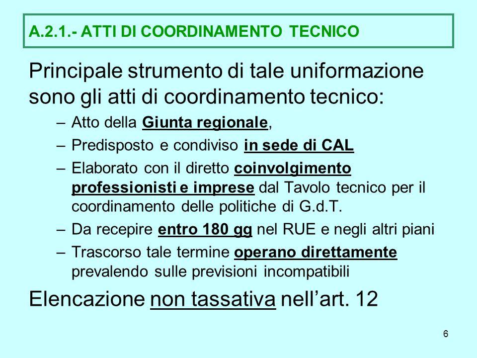 A.2.1.- ATTI DI COORDINAMENTO TECNICO