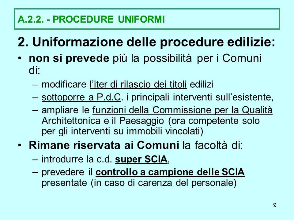 2. Uniformazione delle procedure edilizie:
