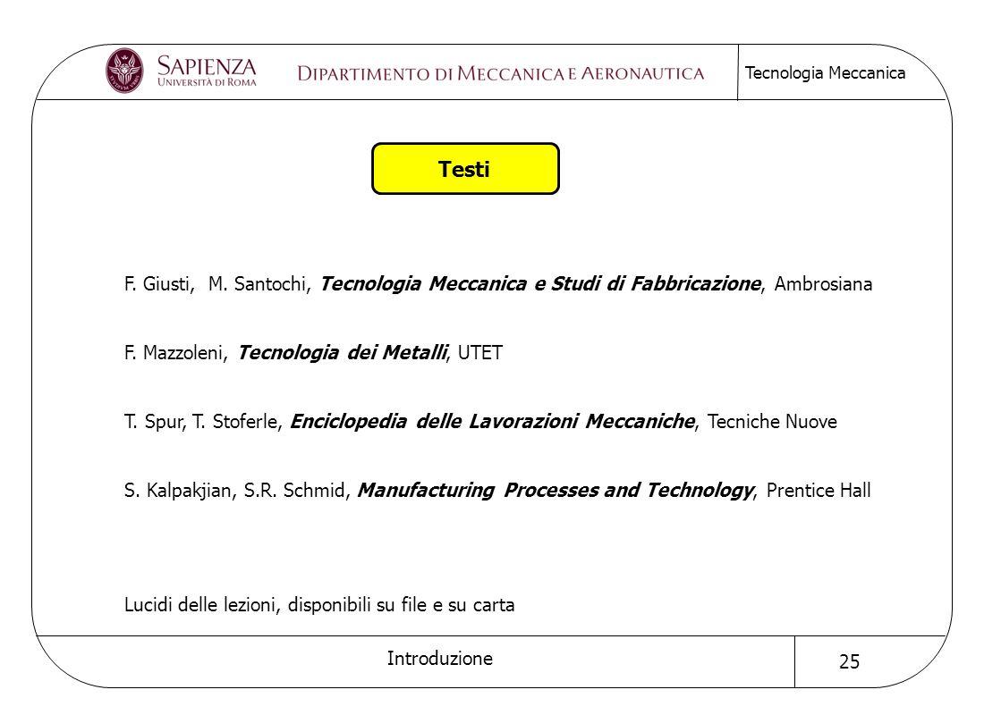 Testi F. Giusti, M. Santochi, Tecnologia Meccanica e Studi di Fabbricazione, Ambrosiana. F. Mazzoleni, Tecnologia dei Metalli, UTET.