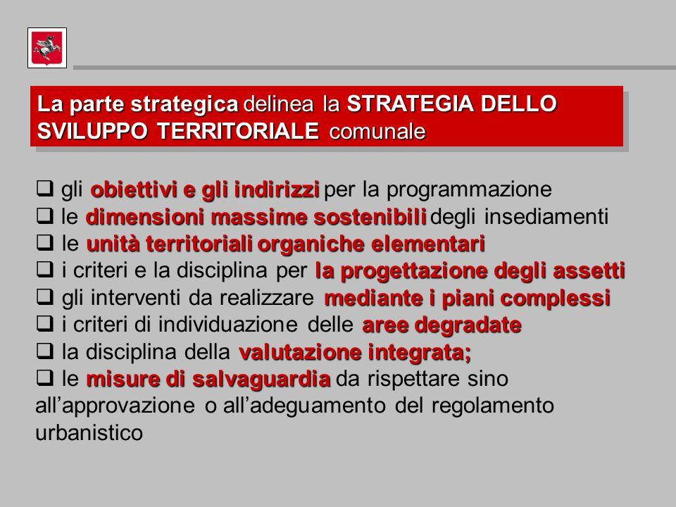 La parte strategica delinea la STRATEGIA DELLO SVILUPPO TERRITORIALE comunale