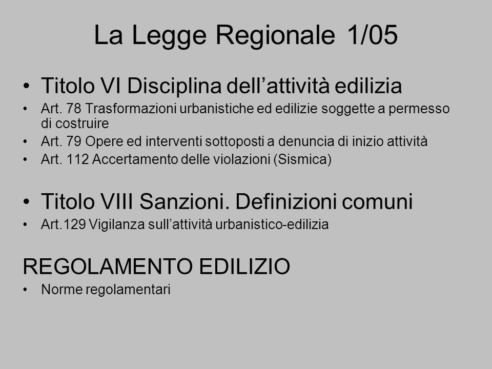 La Legge Regionale 1/05 Titolo VI Disciplina dell'attività edilizia