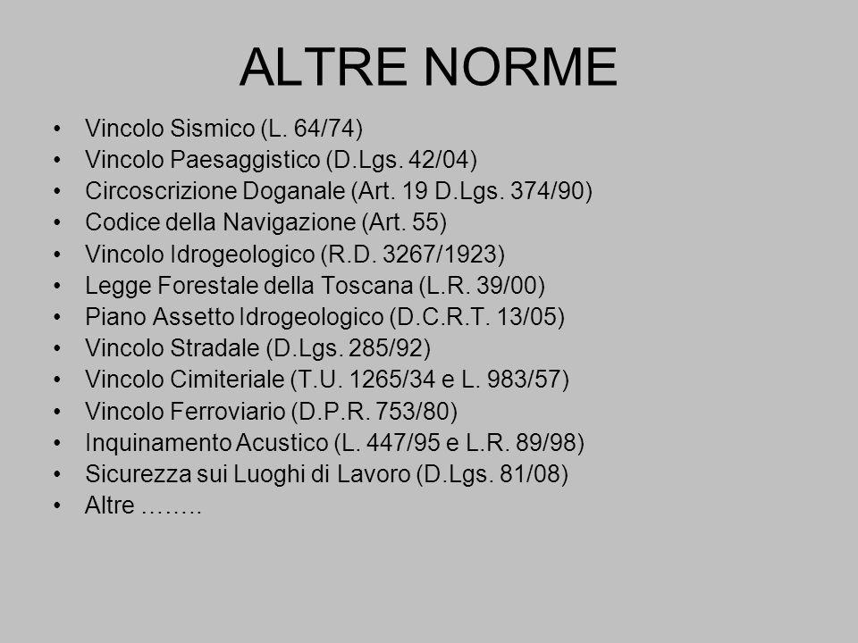 ALTRE NORME Vincolo Sismico (L. 64/74)