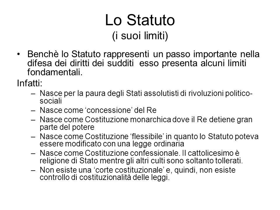 Lo Statuto (i suoi limiti)