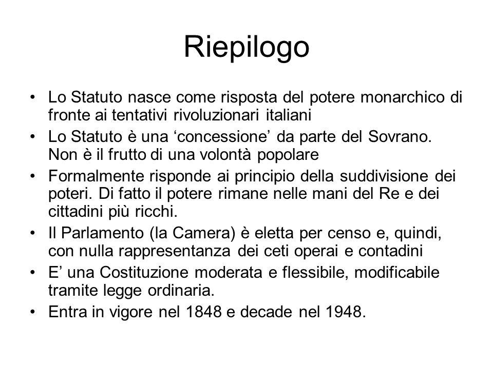 Riepilogo Lo Statuto nasce come risposta del potere monarchico di fronte ai tentativi rivoluzionari italiani.