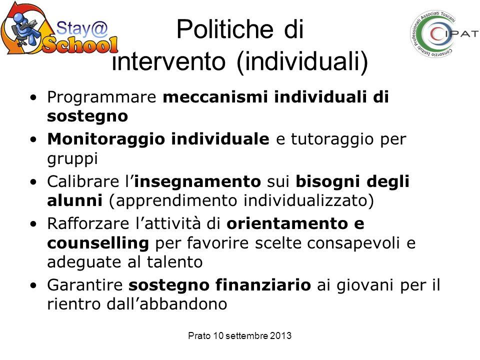 Politiche di intervento (individuali)