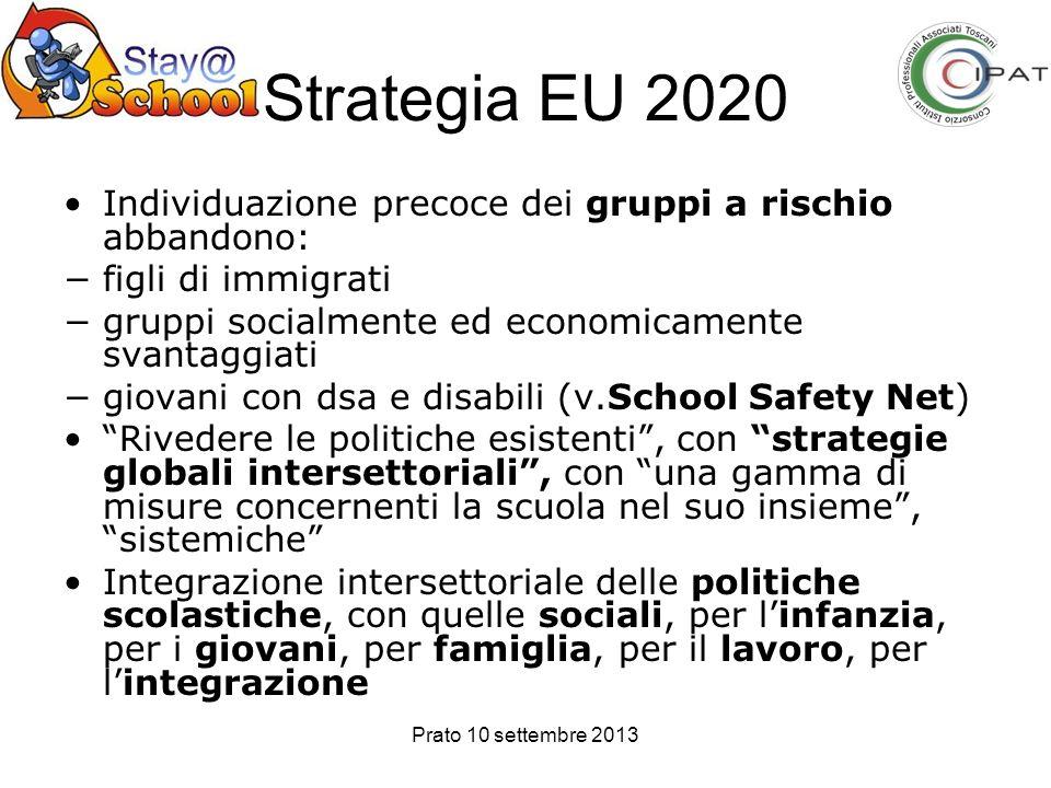 Strategia EU 2020 Individuazione precoce dei gruppi a rischio abbandono: figli di immigrati. gruppi socialmente ed economicamente svantaggiati.