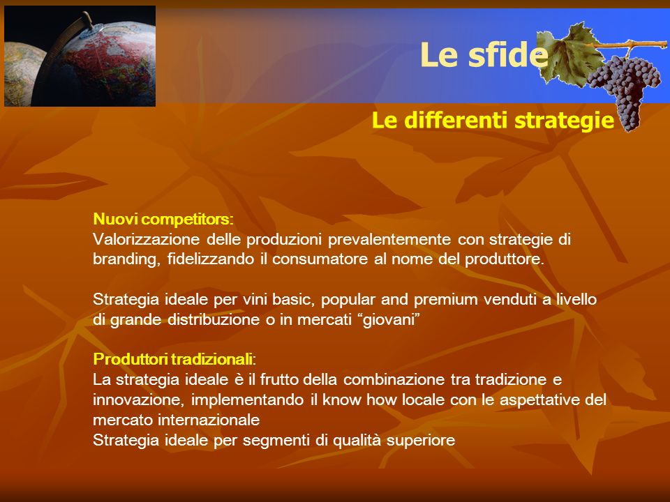 Le sfide Le differenti strategie Nuovi competitors: