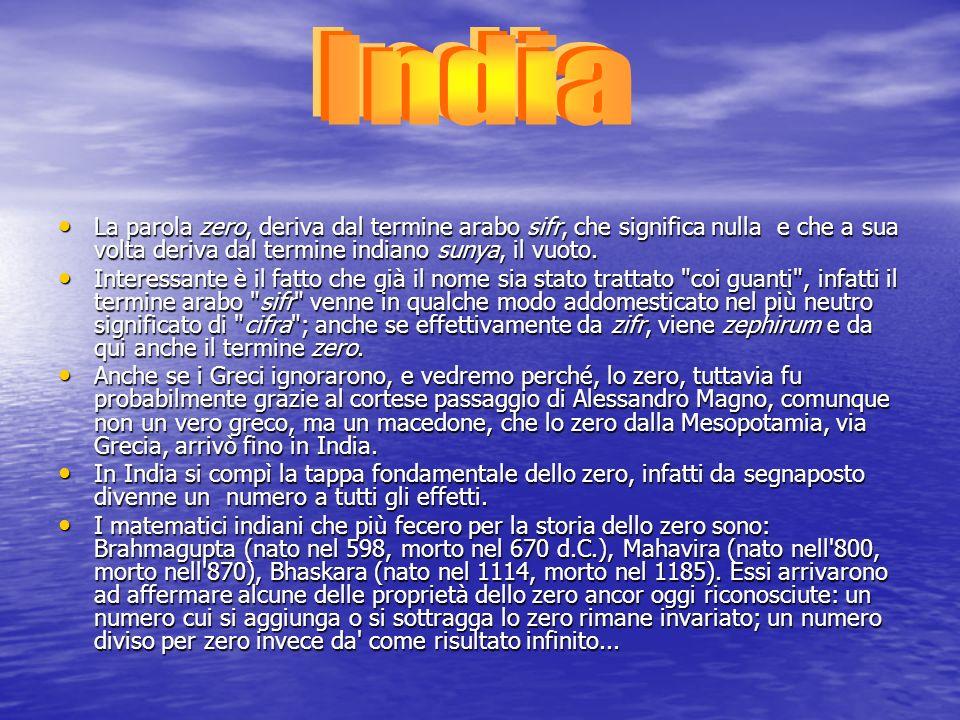 India La parola zero, deriva dal termine arabo sifr, che significa nulla e che a sua volta deriva dal termine indiano sunya, il vuoto.