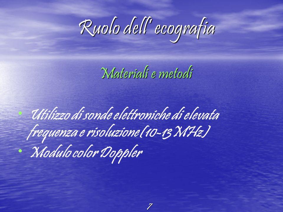 Ruolo dell' ecografia Materiali e metodi. Utilizzo di sonde elettroniche di elevata frequenza e risoluzione(10-13MHz)