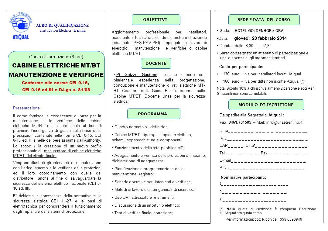 CABINE ELETTRICHE MT/BT MANUTENZIONE E VERIFICHE