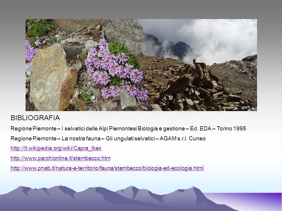 BIBLIOGRAFIA Regione Piemonte – I selvatici delle Alpi Piemontesi Biologia e gestione – Ed. EDA – Torino 1995.